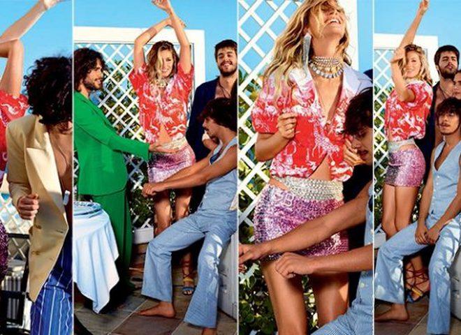 Яркая вечеринка: Жизель Бундхен в купальнике на страницах Vogue