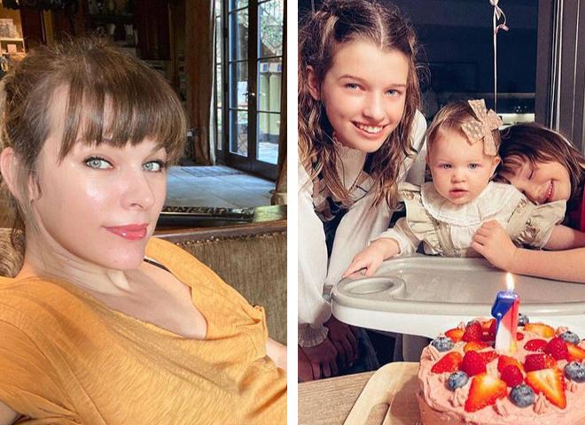 Первый день рождения ладшей дочери Миллы Йовович