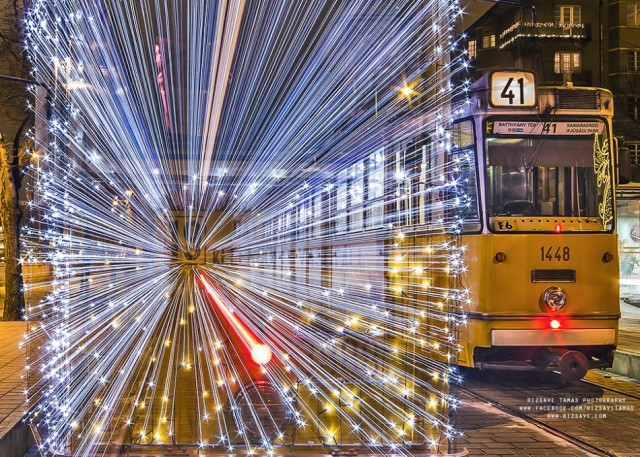Нереальный Будапештский трамвайчик с 30 тысячами LED-лампочек