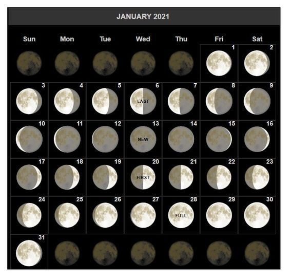 місячний календар на січень 2021