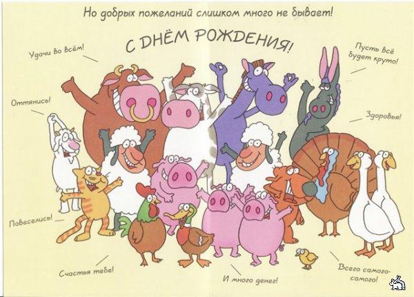 Смешная открытка с Днём Рождения