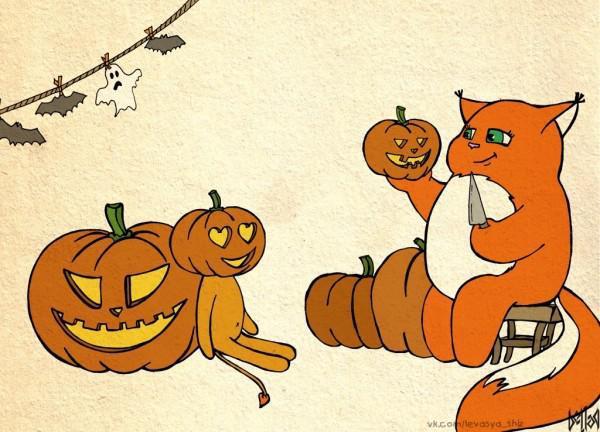 Милая открытка к Хэллоуину