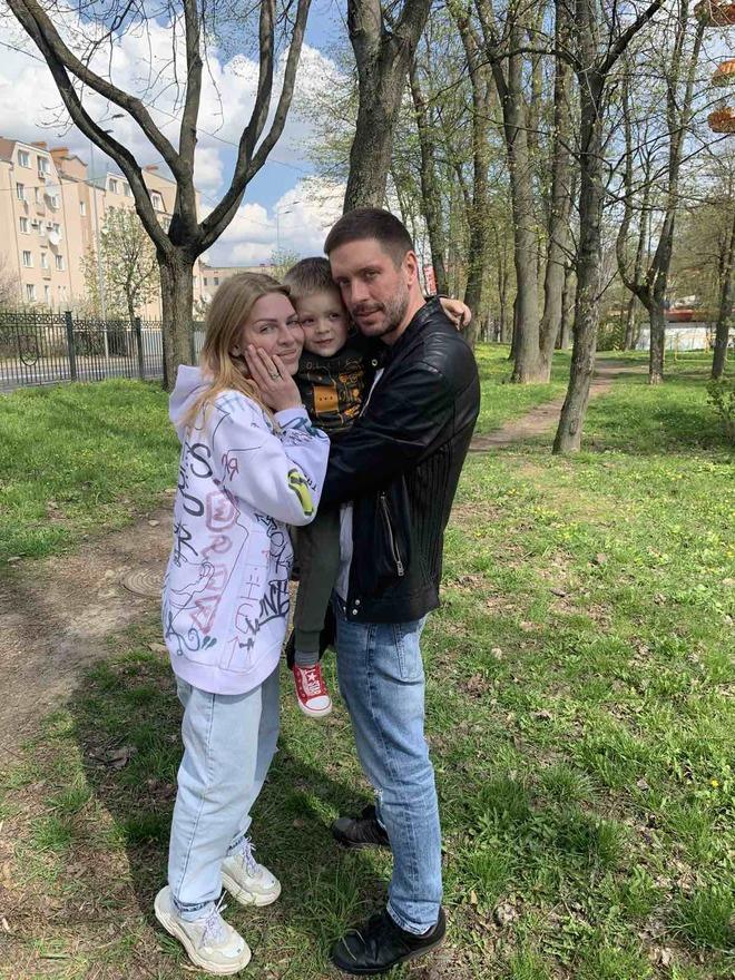 Яна Глущенко з чоловіком та сином
