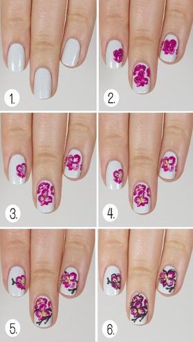 Рисовать цветы на ногтях поэтапно