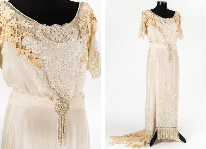 Вышитое шёлковое платье с кружевом