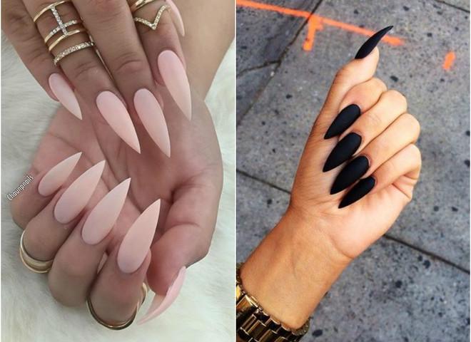 Длинные острые ногти маникюр