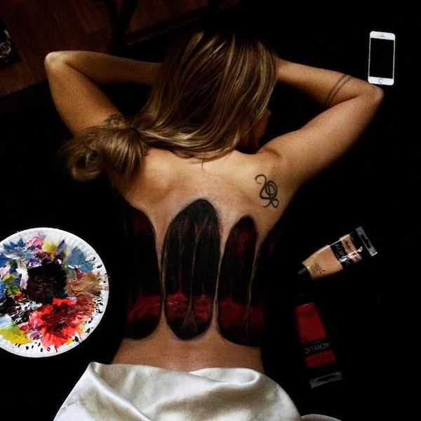 Оживший бодиарт на спине от Наташи Фарнсворт