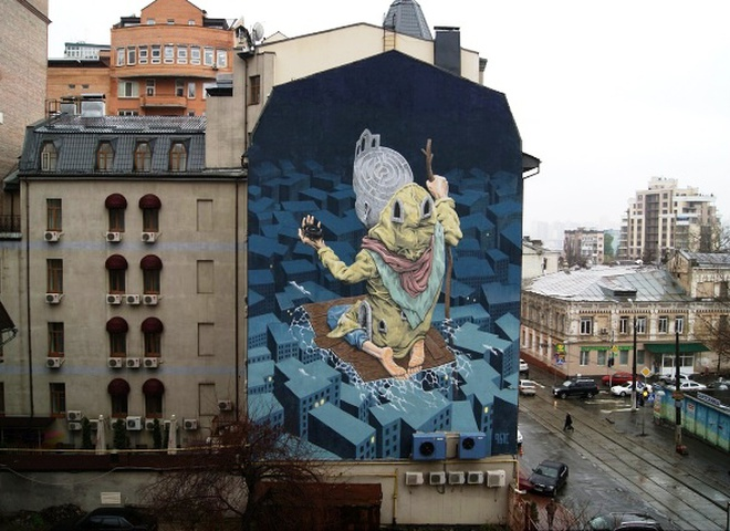 В Киеве на стене одного из отелей появился 24-метровый мурал