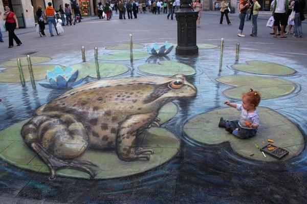 Реалистичные 3D картины на асфальте