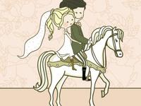 Листівка з весіллям