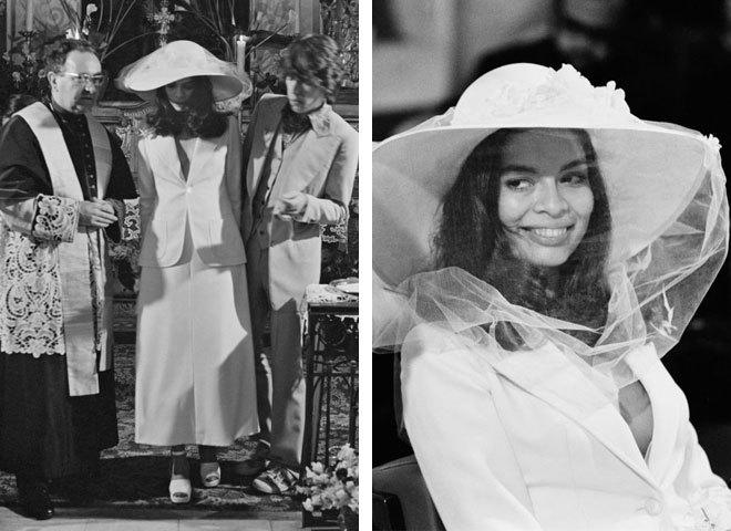 Бьянка Джаггер у весільному вбранні