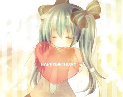 Анимешная открытка с Днем рождения