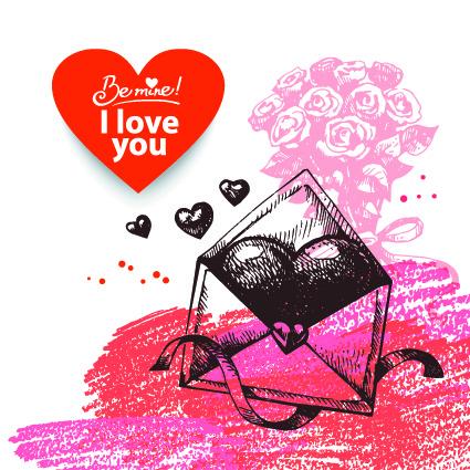 Рисованная открытка на День Св. Валентина 2015