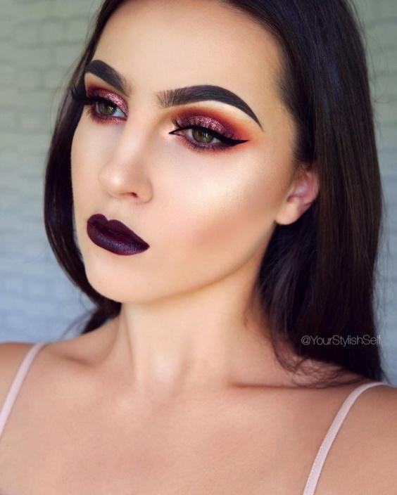 Бордовый макияж — модный бьюти-тренд 2017 года