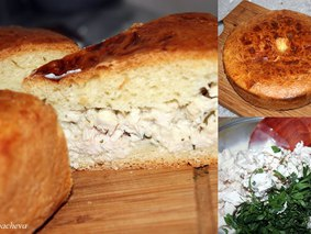 Пирог с курицей в соусе