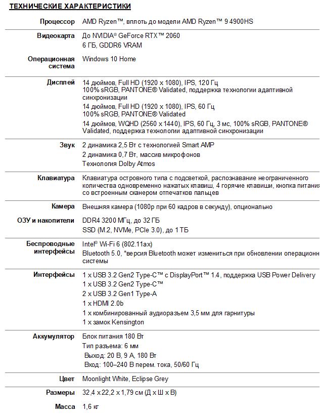 Ноутбук ASUSROG Zephyrus G14 характеристики