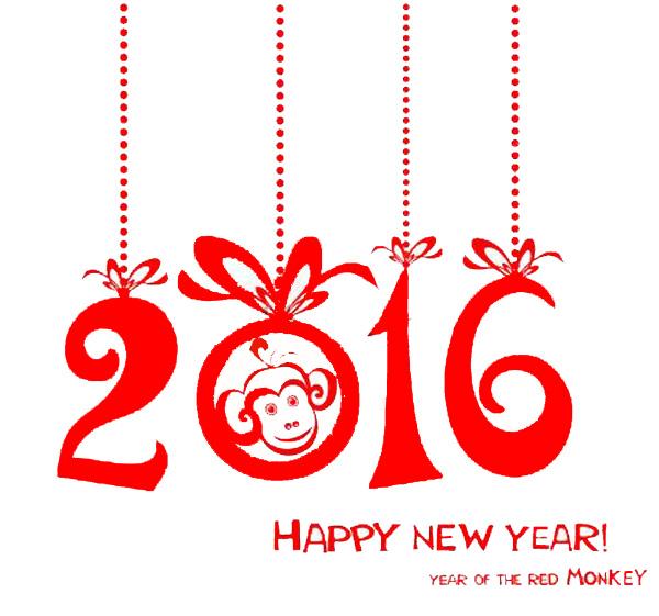 Счастливого Нового года 2016 обезьяны