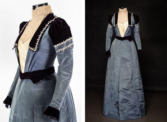 Платье из серо-голубой муаровой тафты