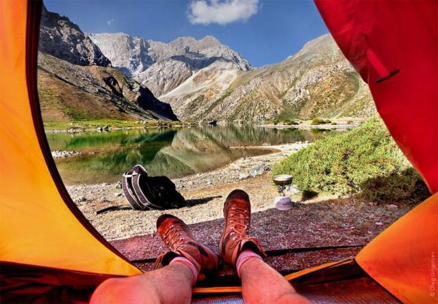 Потрясающий вид с палатки