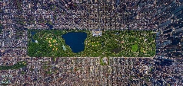 Кусочек зелени: Центральный парк, Нью-Йорк. Вид сверху