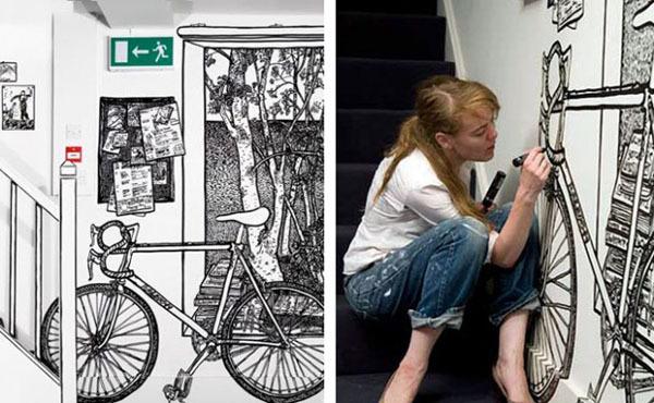 Рисунки маркером вместо обоев от Шарлотт Манн