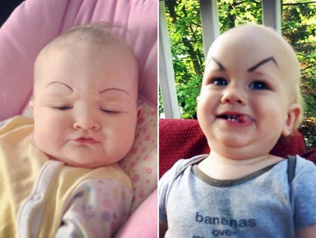 Позитивная подборка малышей с нарисованными бровями