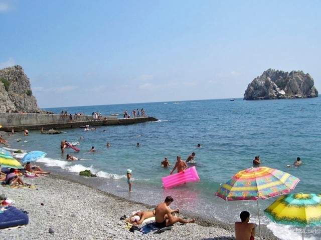 Пляж Гуровские камни в Гурзуфе