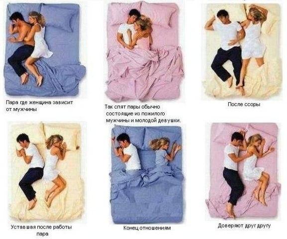 Поза сна мужчины и женщины