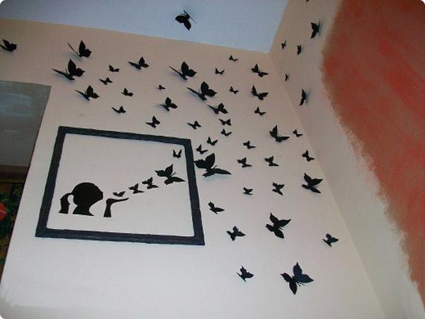Бабочки из цветной бумаги на стену
